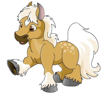 A cartoon horse in palomino..