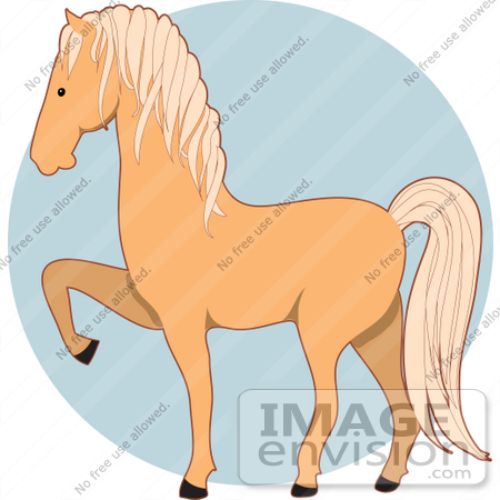 Clip Art Graphic of a Blond Palomino Horse Prancing.