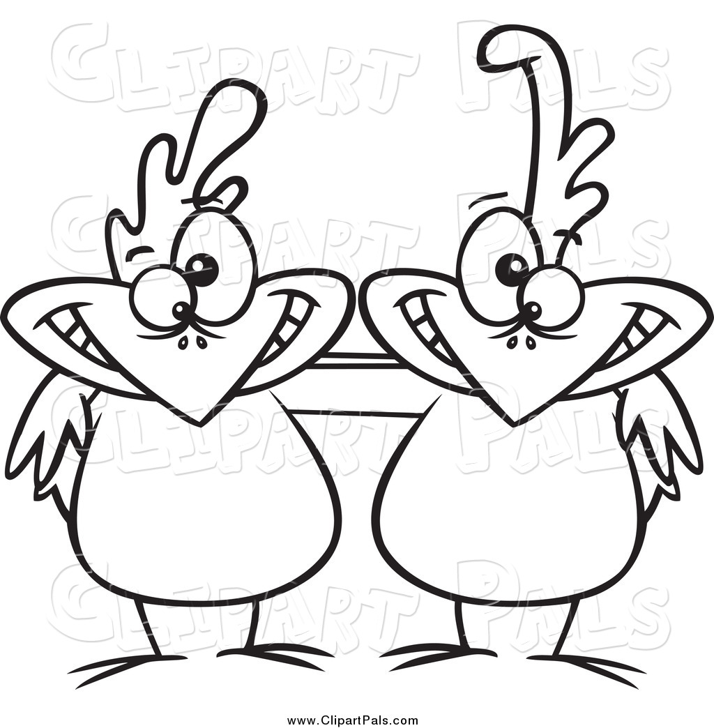 Pal Clipart of Black and White Friend Chicken Buddies by Ron.