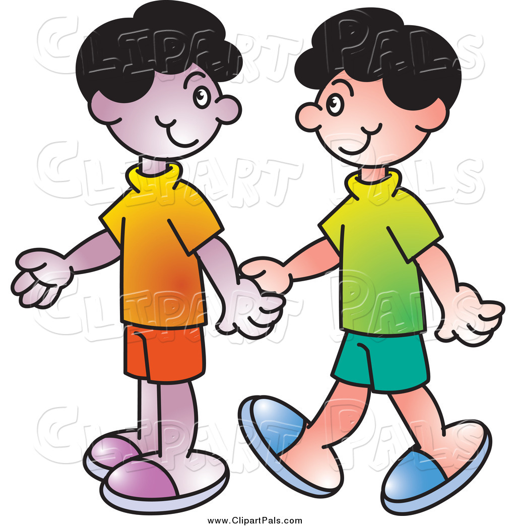 Walking hand in hand clipart #2