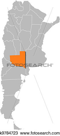 Clipart of Map of Argentina, La Pampa highlighted k9784723.