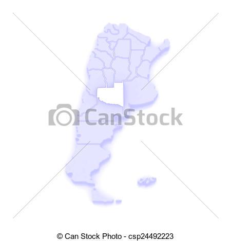 Clip Art of Map of La Pampa. Argentina. 3d csp24492223.