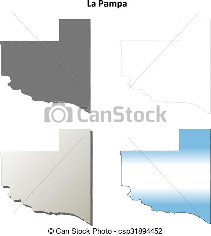 Clipart Vector of La Pampa blank outline map set.