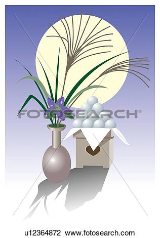 Clip Art of Moon viewing with dumpling and pampas grass, tsukimi.