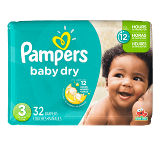 Baby Dry Diapers, 32 units, Size 3, Jumbo Pack.