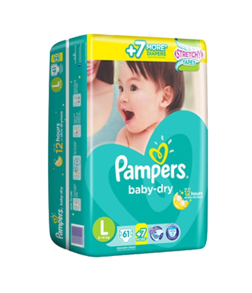 PAMPERS BABY DRY LARGE 30X1S.