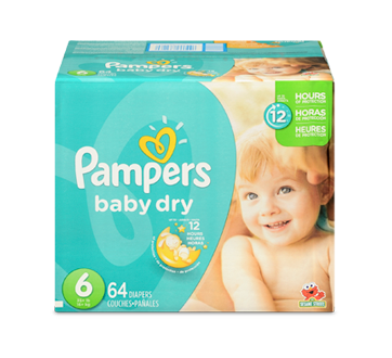 Baby Dry Diapers, 64 units, Size 6, Super Pack.