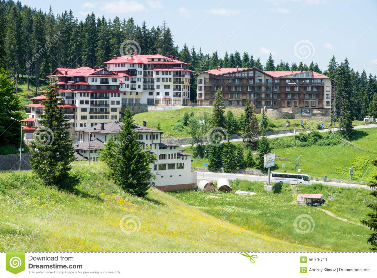 Hotels In Pamporovo In Bulgaria Stock Photo.