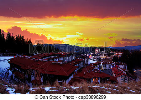 Stock Photographs of HDR red sunset over the Pamporovo resort.