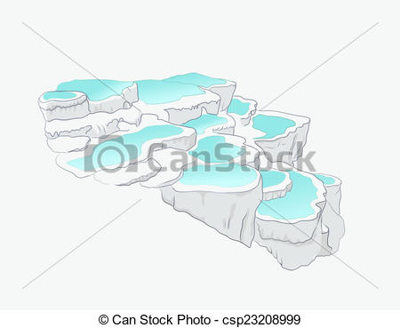 "Stock Illustration of Pamukkale, meaning ""cotton castle"" in."