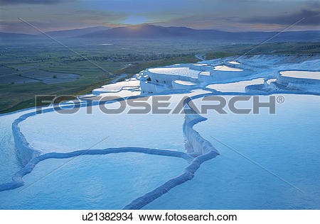 Stock Photo of Travertine terrace pools, Pamukkale, Anatolia.