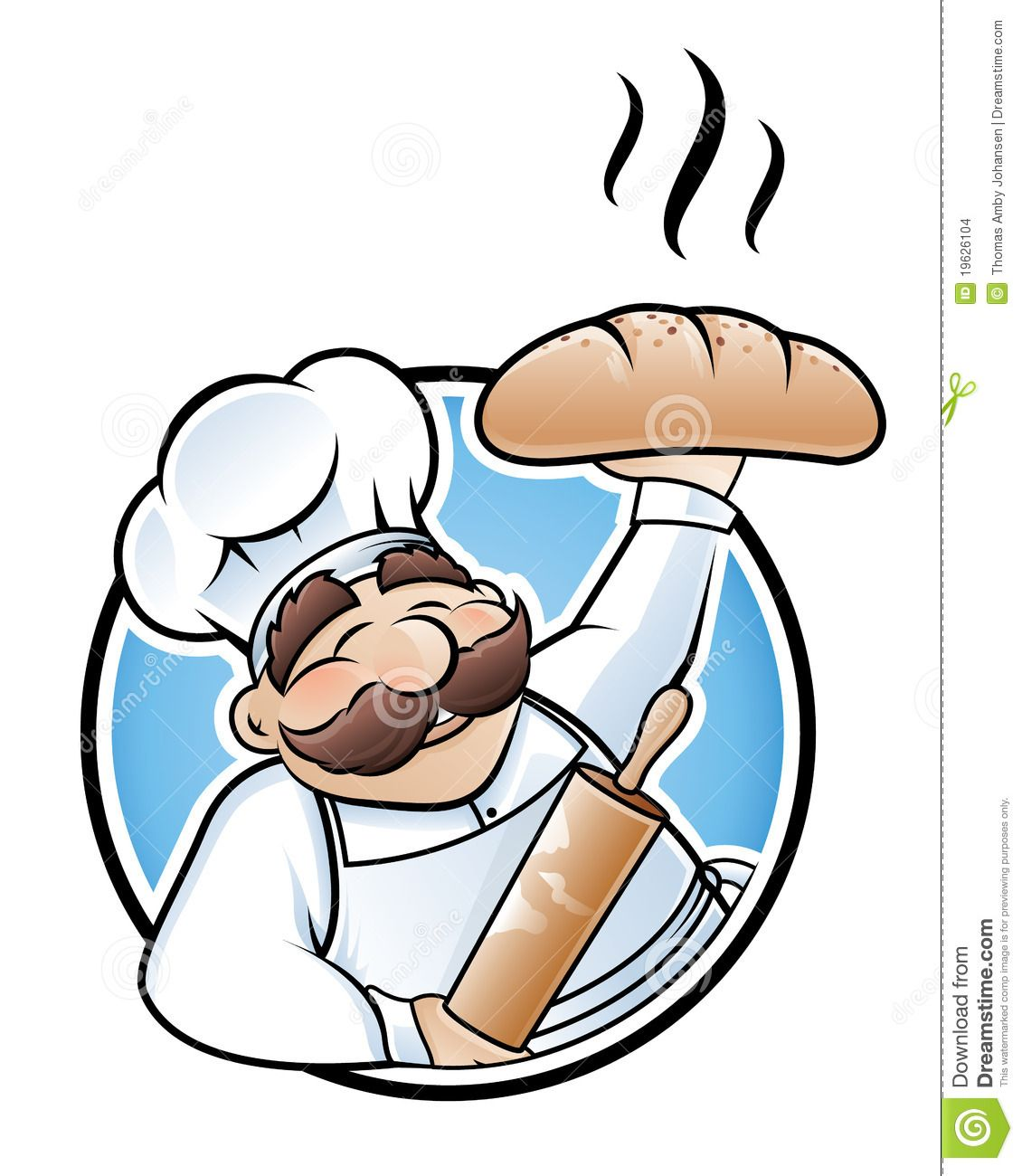 Ilustración de panadero exhibidendo un gran pan..