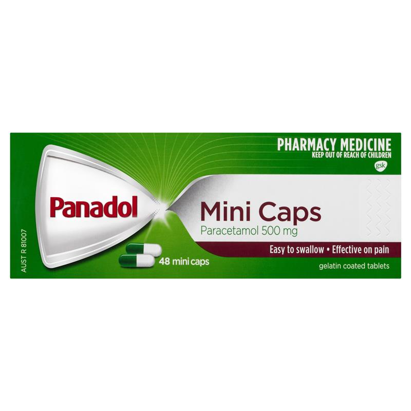 Buy Panadol Mini Caps for Pain Relief Paracetamol 500mg 48.