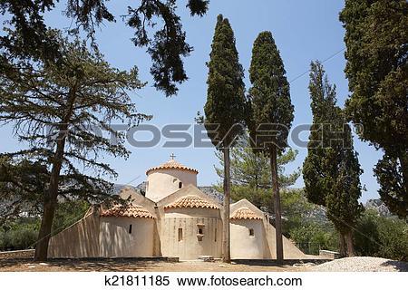 Stock Image of Greek church of Panagia Kera. Crete. Greece.