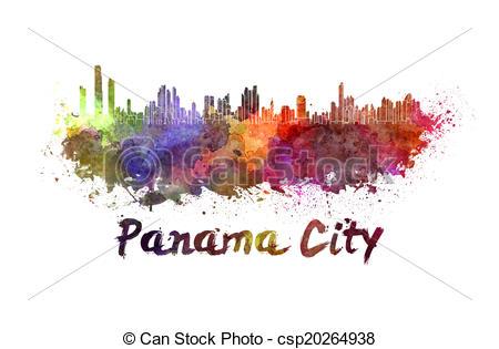 Drawings of Panama City skyline in watercolor splatters.