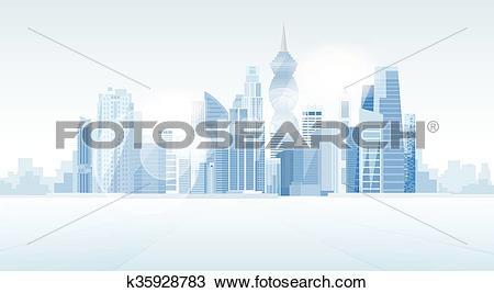 Clipart of Panama City Skyscraper View Cityscape Background.