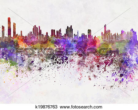 Drawing of Panama City skyline in watercolor background k19876763.