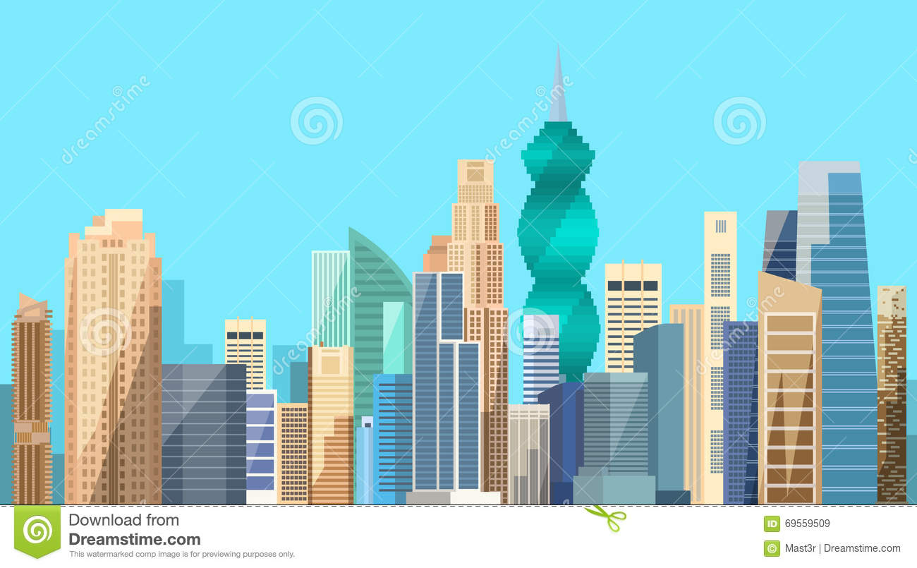 Panorama Panama City Building Bay Stock Illustrations.