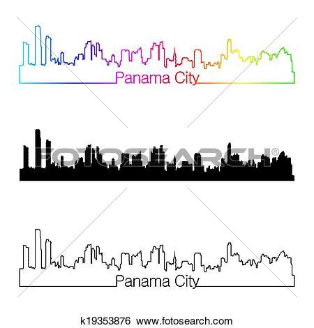 Clip Art of Panama City skyline linear style with rainbow.