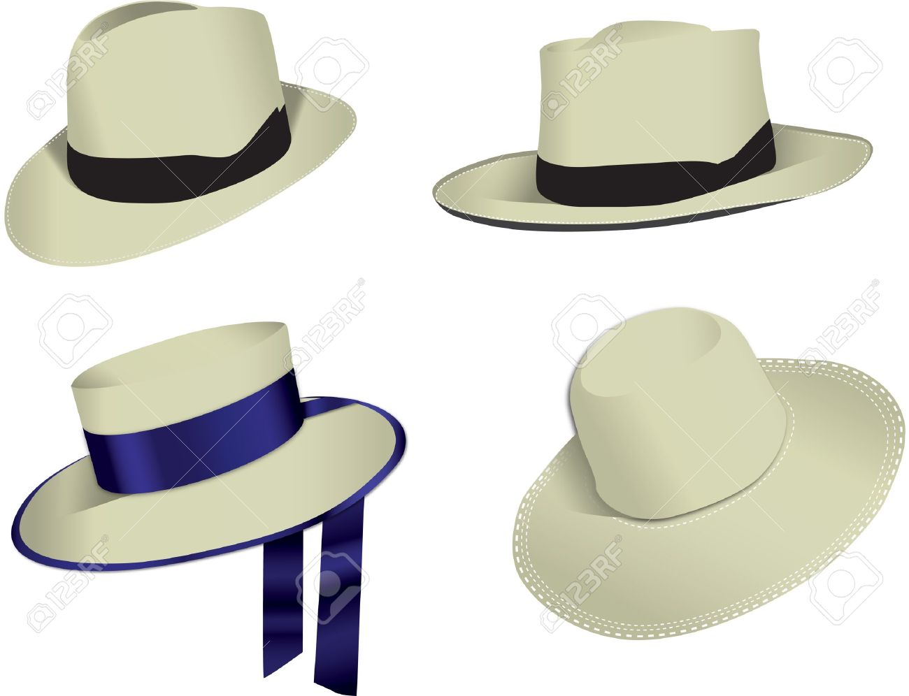 Four Panama Hats Isolated On White Background, Vector Royalty Free.