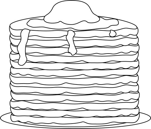 Black and White Pancakes Clip Art.