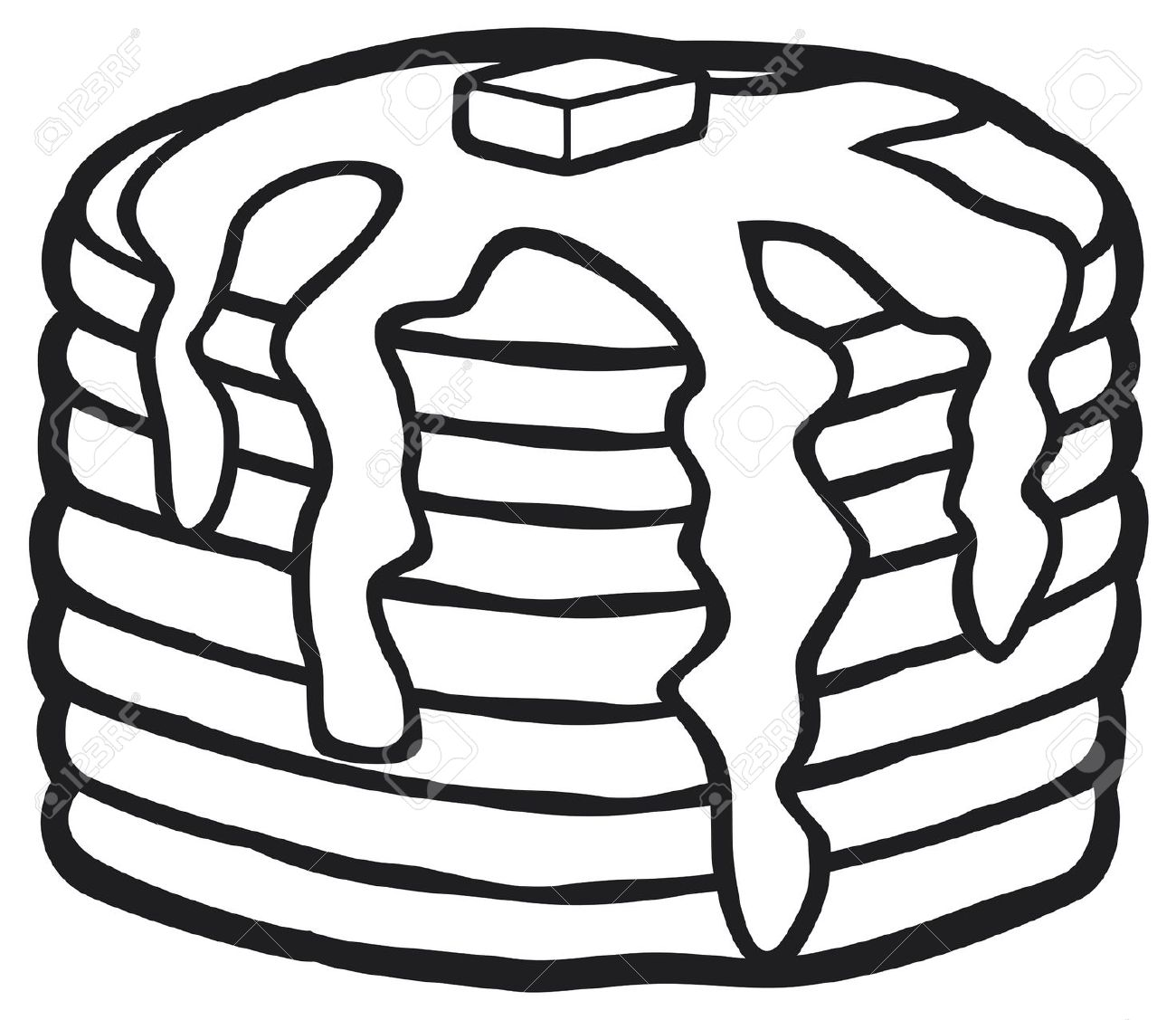 Pancakes Clipart Black And White.