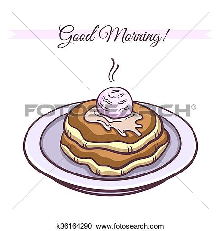 Clipart of Pancakes With Ice Cream k36164290.
