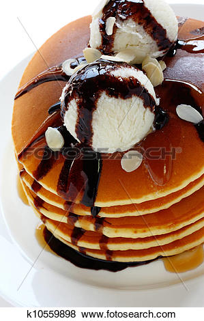 Pictures of pancakes topped with ice cream k10559898.