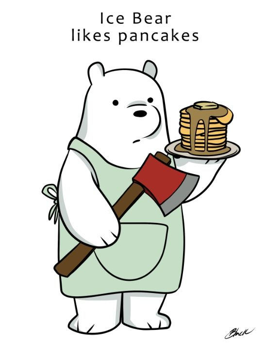 Ice Bear likes pancakes Art Print.