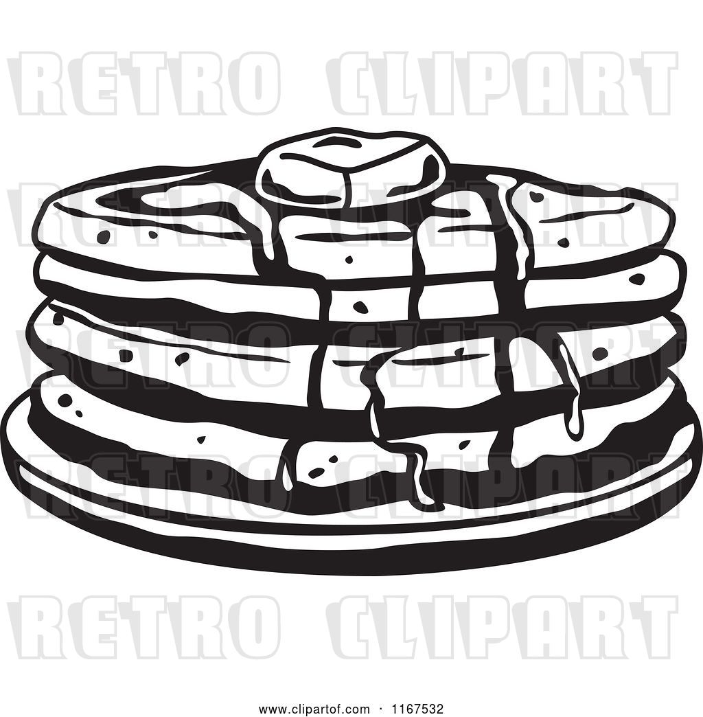 Vector Clip Art of Retro Stack of Pancakes with Butter and.