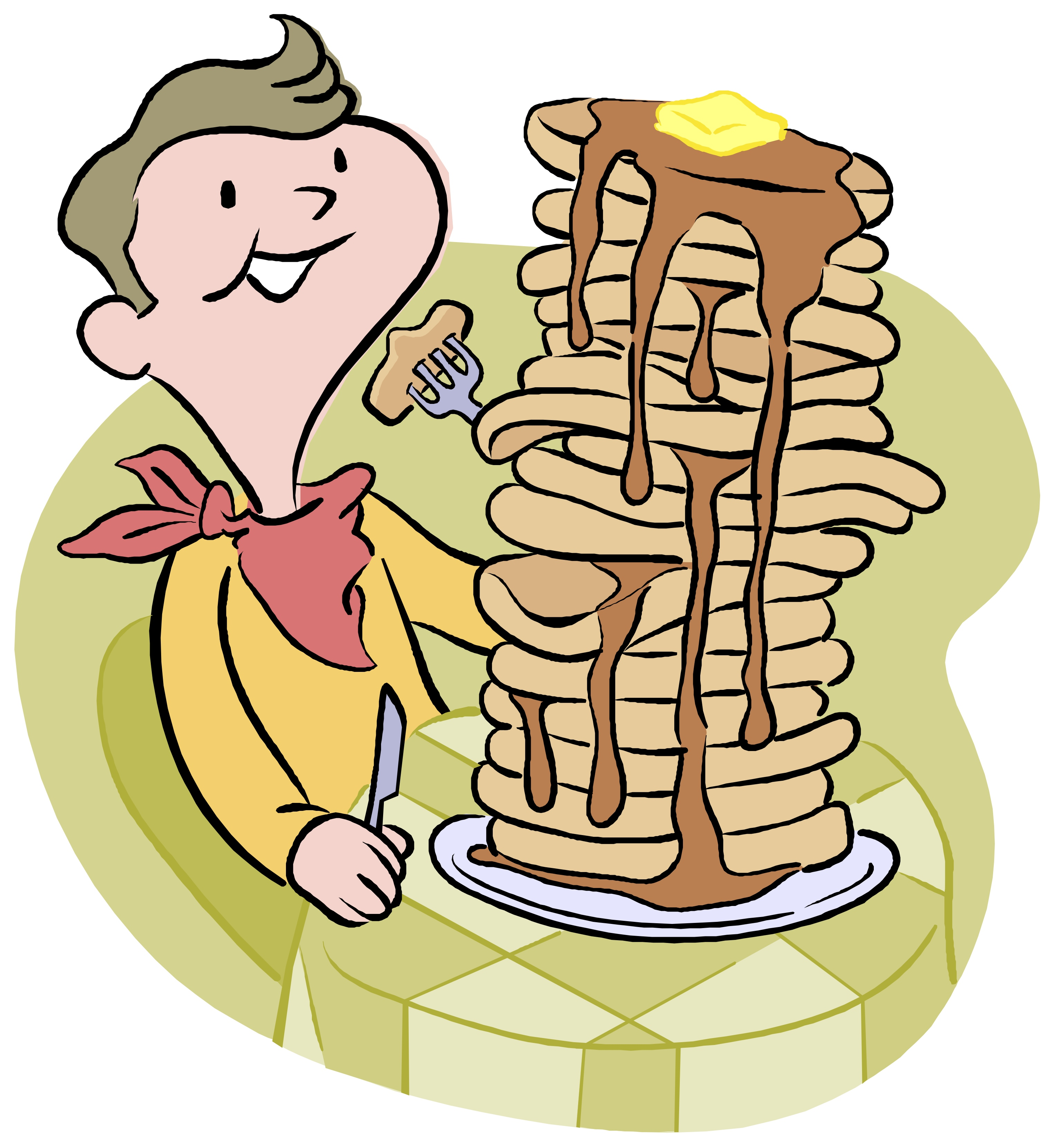 Boy Eating Pancakes Clipart.
