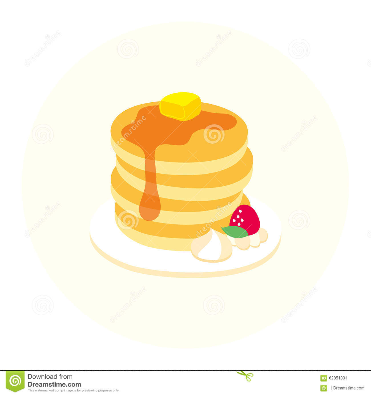 Vector Cute Pancake Tower Stock Illustration.