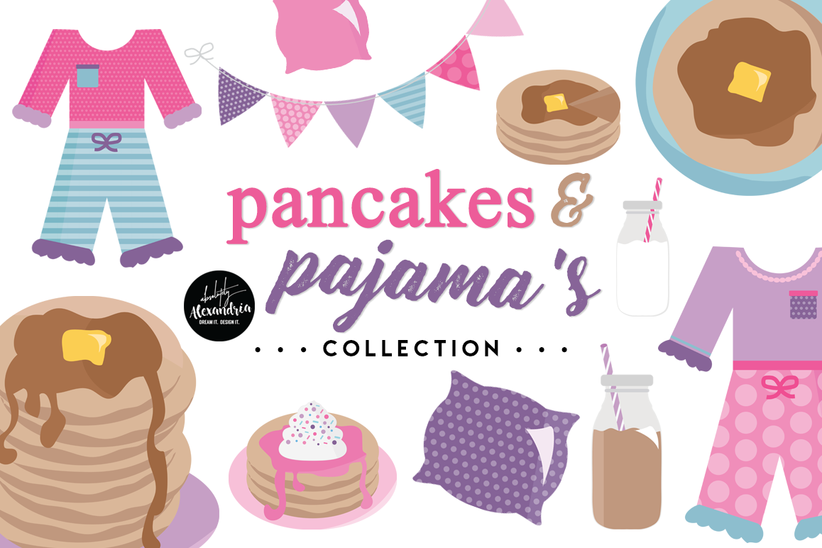 Pancakes & Pajamas Clipart Graphics & Digital Paper Patterns Bundle.