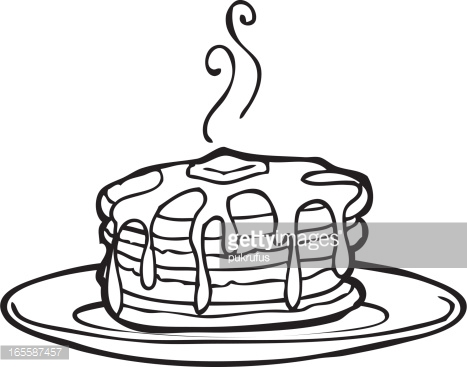 Pile Of Pancakes Drawing Vector Art.