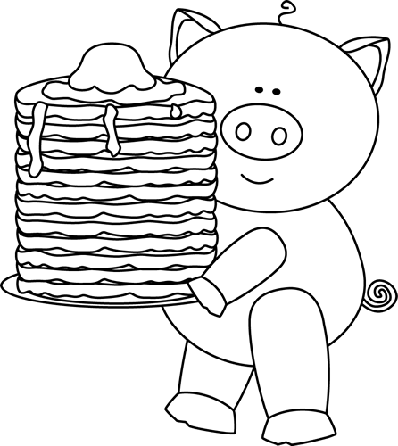 Black and White Pig with Pancakes Clip Art.