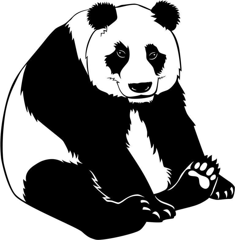 Panda Bear Clipart Black And White.