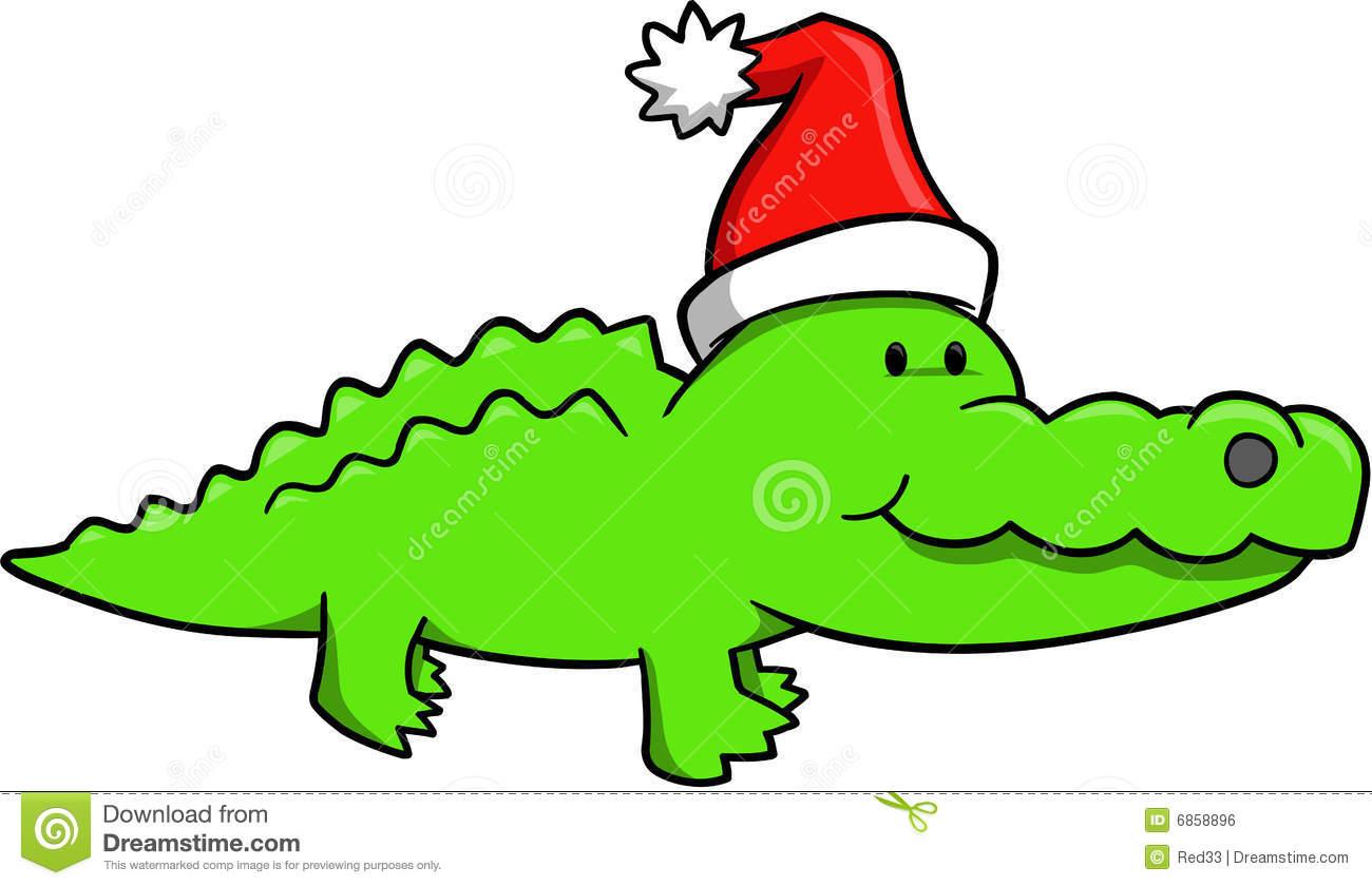 Christmas Alligator Clipart.