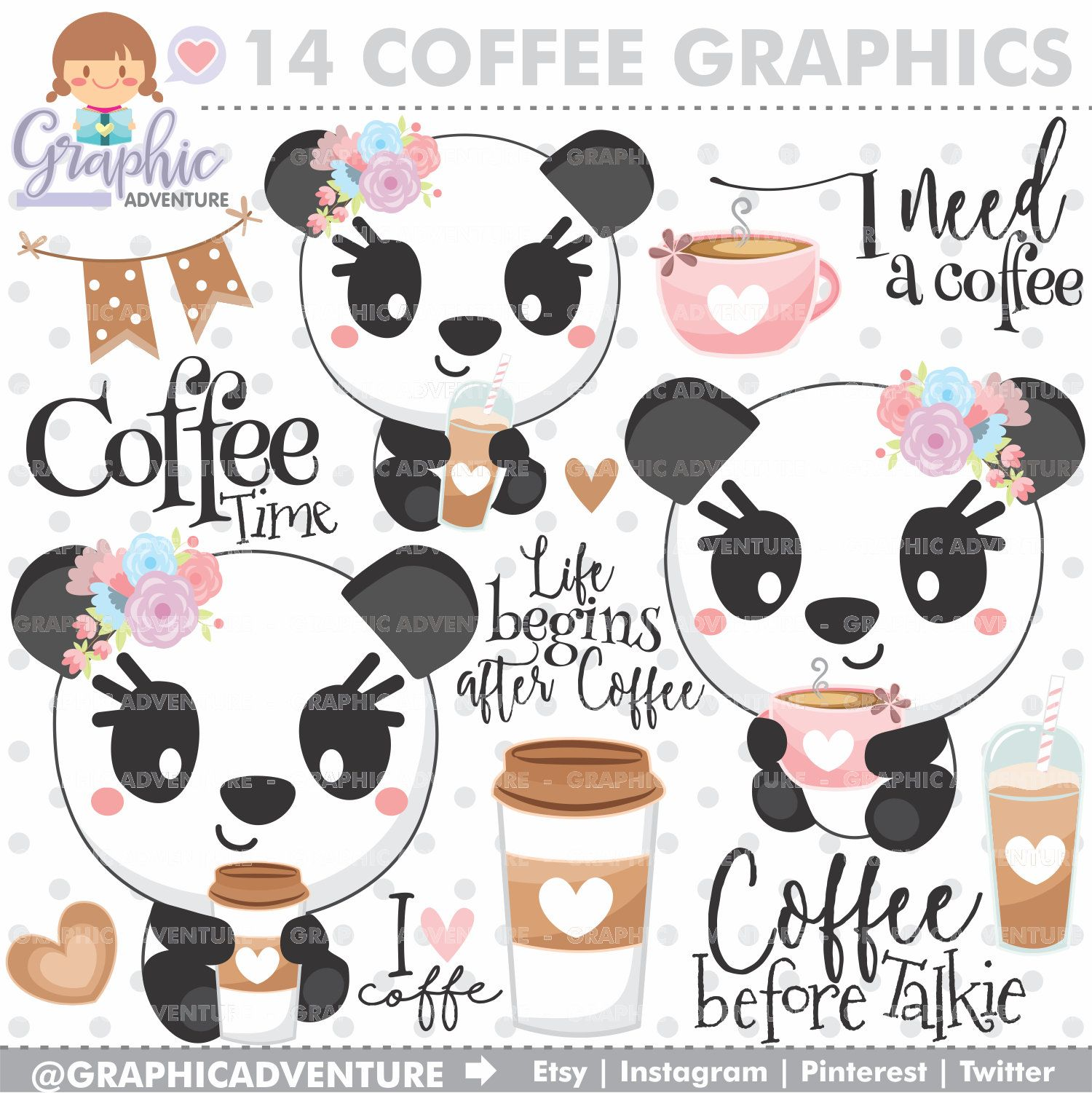 Coffee Clipart, Coffee Graphics, Panda Clipart, COMMERCIAL.