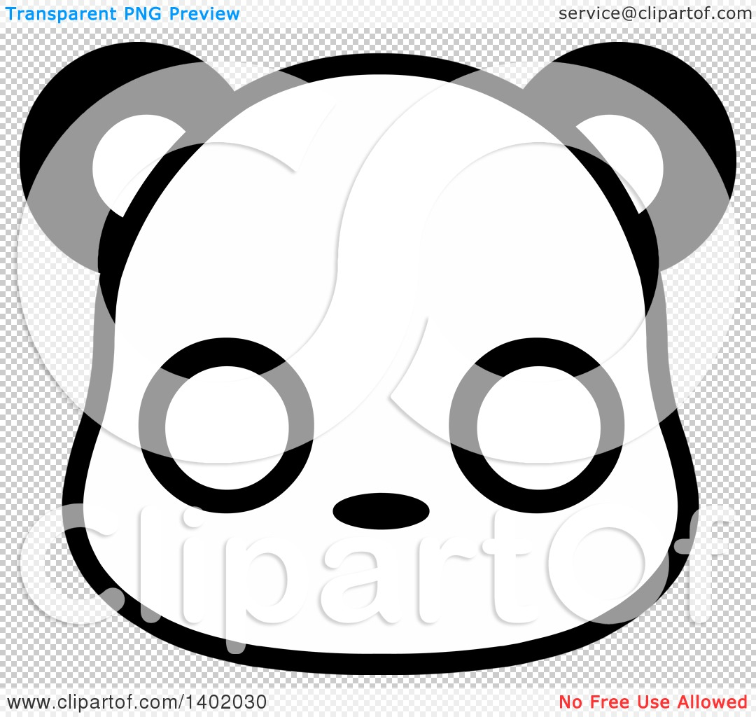 Clipart of a Cute Black and White Panda Animal Face Avatar or Icon.