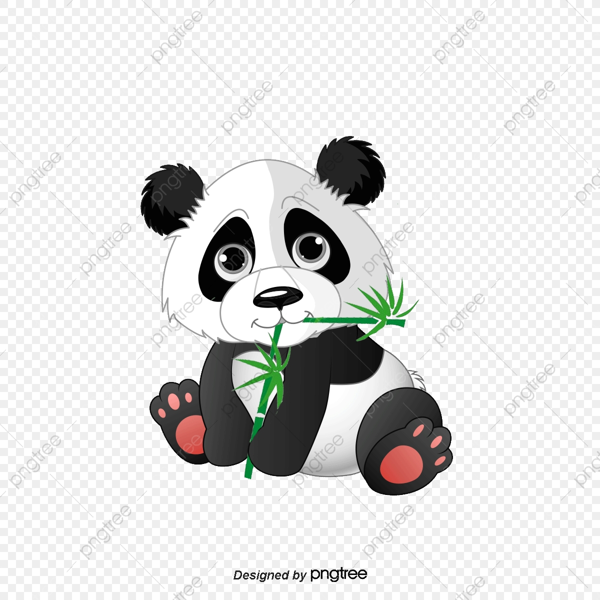 Panda Eating Bamboo, Cartoon Comics, Animal Illustration.