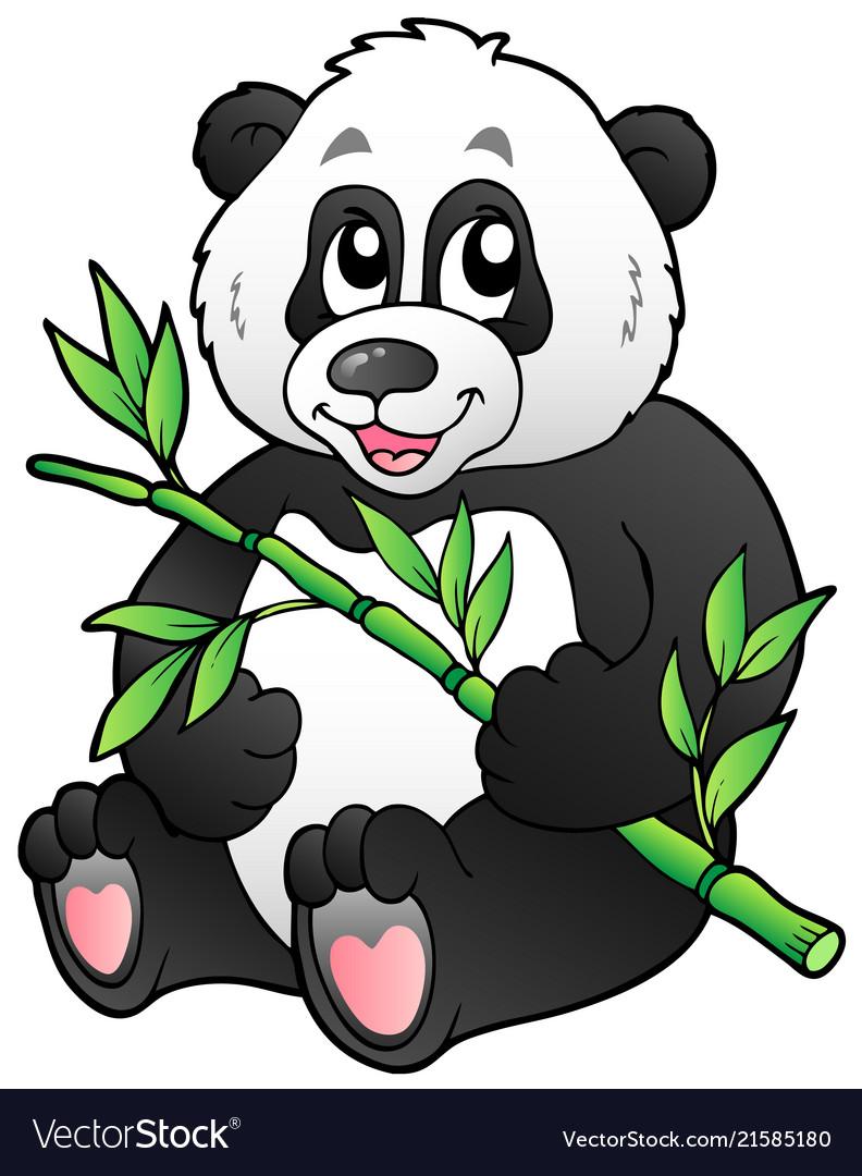Cartoon panda eating bamboo.