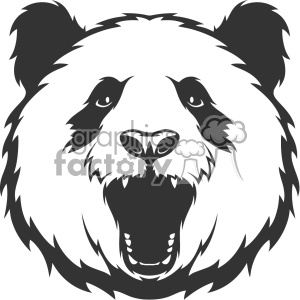panda head roaring vector art clipart. Royalty.