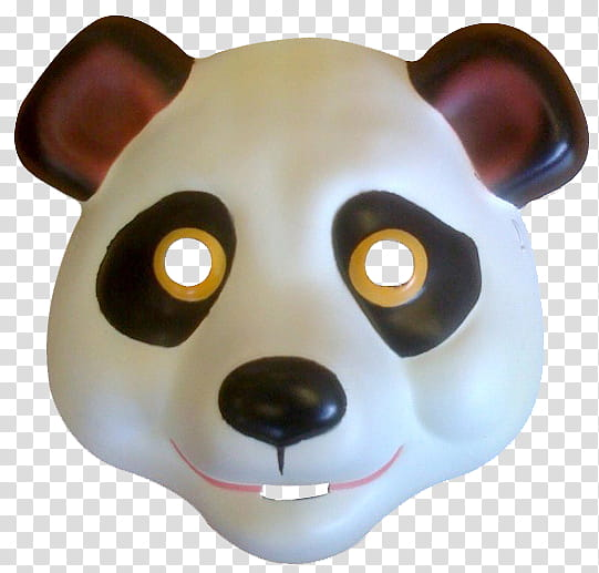 white and black panda mask transparent background PNG.