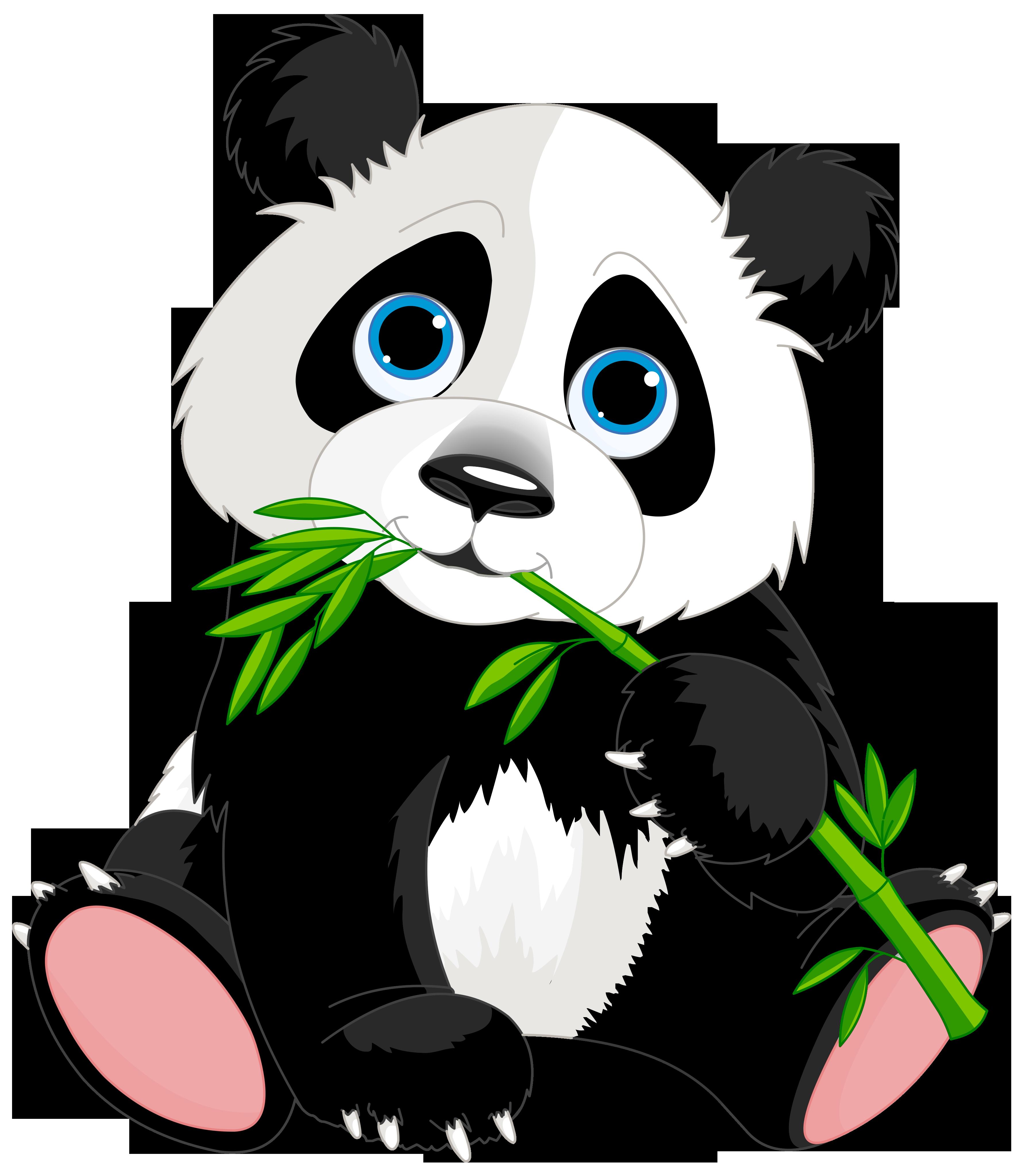 Cute Panda Cartoon PNG Clipart Image.