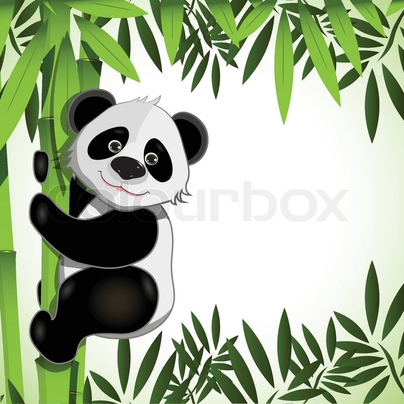Cheerful panda on bamboo.