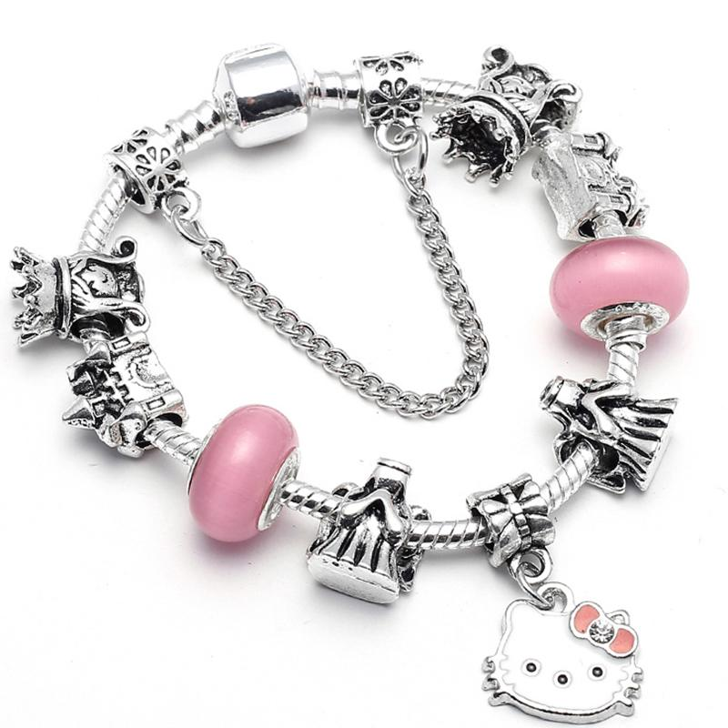 BAOPON png Cute Kitty Charm Bracelet With Pink Angel Girl Beads Pandora  Bracelet For Women Kids Fashion Jewelry Gift.