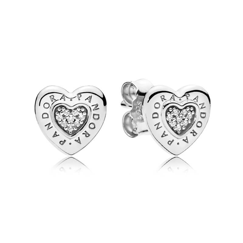 Pandora Logo Heart Stud Earrings 297382CZ.