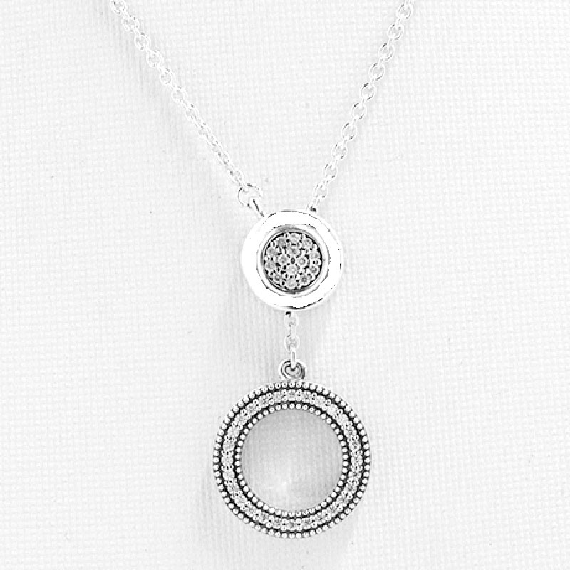 New Logo Signature Circle Sliding Clasp With Crystal Necklace For Women  Party Gift Pandora Jewelry 925 Sterling Silver Necklace.