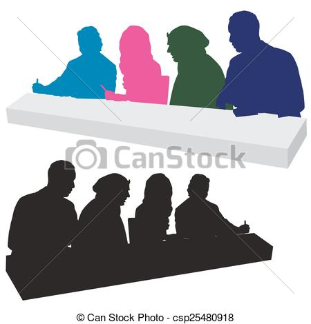 Vector Clip Art of Judging Panel Silhouette.