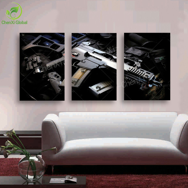 Aliexpress.com : Buy 3 Panel Fashion Modern Rifle Canvas Painting.